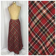Holiday Red Tartan Amp Gold Metallic Plaid Velvet Trim Hostess Skirt 12 | eBay