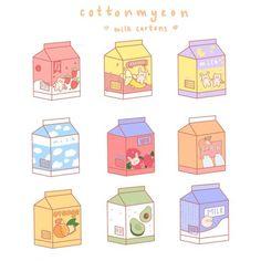 Cute Food Drawings, Mini Drawings, Cute Little Drawings, Cute Kawaii Drawings, Stickers Cool, Kawaii Stickers, Anime Stickers, Printable Stickers, Cute Doodle Art