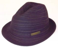 """Peter Grimm: Static purple fedora in 100% wool felt. 1-1/2"""" down turned brim. One size. $35.00 USD at http://www.killercrowns.com/brands/peter-grimm/static-fedoar-purple.html"""