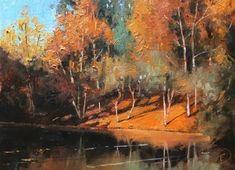 """Autumn Colours Beside the Lake"" - Original Fine Art for Sale - � Nigel Fletcher"