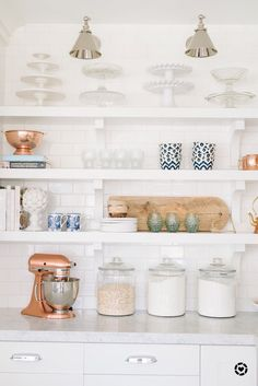 Here is a peek at my kitchen open shelving. Here is a peek at my kitchen open shelving. Modern Farmhouse Kitchens, Rustic Kitchen, Country Kitchen, Home Kitchens, Kitchen Modern, New Kitchen Cabinets, Kitchen Shelves, Kitchen Countertops, Soapstone Kitchen