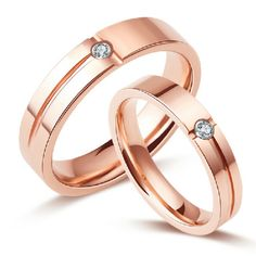 Cubic Zirconia Inlaid Rose Gold Plated Tungsten Ring For Couple