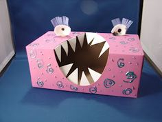 monster box out of tissue box, sea shells , paper and paint