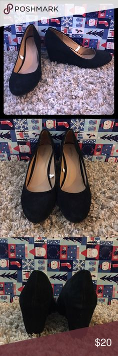 Velvet Wedges Black velvety wedges worn once indoors  Bottoms of shoes like new! Comfy and cute for fall/winter. Merona Shoes Ankle Boots & Booties