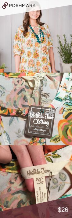 """Matilda Jane , NWT, Sunday Best Dress  Size M Matilda Jane did it again with this easy, looks great on every figure, flowery dress. It combines warm oranges, yellows, and pinks. Size M. Length 37"""", Chest 20"""". Brand new with Matilda Jane Dresses"""