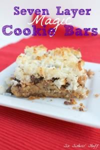 Seven Layer Magic Cookie Bars from Six Sisters on MyRecipeMagic.com #bars #7layer