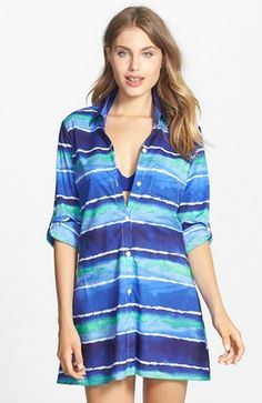 Tommy Bahama 'Water Waves' High/Low Cover-Up Boyfriend Shirt Swimsuit Cover Up Dress, Water Waves, Boyfriend Shirt, Cut Shirts, Tommy Bahama, Fashion Advice, High Low, What To Wear, Nordstrom