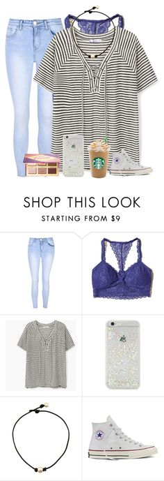 """""""when your bestfriend gets you a Victoria's Secret bralette😍"""" by alexislynea-13 ❤ liked on Polyvore featuring Glamorous, Hollister Co., MANGO, ban.do, Converse and tarte"""