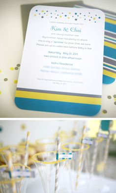 Sprinkled with Love: A Modern Baby Shower  Want to steal this idea and poem for the invite. But pale pink and mint green colors