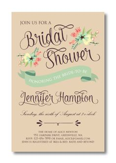 Printable Bridal Shower Invitation by PerfectlyPrintables on Etsy, $16.00 #country #rustic #vintage