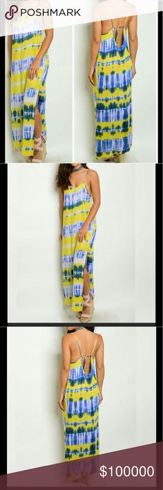 CUTE Tie dye maxi sundress ☀️ SUPER cute yellow & navy tie dye maxi sundress. Features:  side slit, spaghetti straps, scoop neck, tie back.  Material: 100% Rayon Dresses Maxi