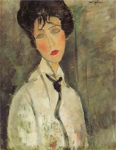 Woman with a Black Tie - Amedeo Modigliani Paintings
