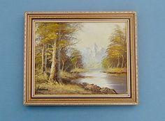 Vintage 1950s Framed Woodland Landscape Oil Painting with Mountains Signed James