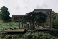 Casa Ridge Road: Se encuentra en Australia, ubicada dentro de un campo de golf. Esta vivienda ha sido diseñada para crear un santuario dominado por la tranquilidad y confort.  La pronunciada pendiente ha sido aprovechada para crear dos niveles donde la entrada está situada en el nivel superior, con los dormitorios y un espacio abierto en la planta baja para dar cabida a la cocina, salón y comedor. De este modo se consigue una terraza privada con vistas al campo de golf
