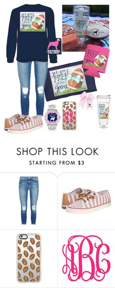"""""""Preppy Friday Night Football Fashion"""" by thepreppy-equestrian ❤ liked on Polyvore featuring J Brand, Sperry and Casetify"""