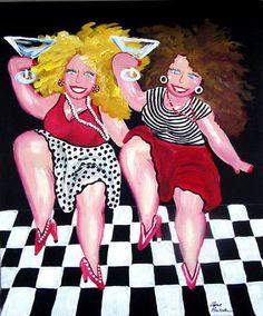 Dancing Martini Divas Fun Funky Original by reniebritenbucher, $119.00