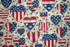 Patriotic Fabric, Americana Fabric, Stars Stripes Fabric, By The Yard, Patriotic Hearts Collection, AHV Fabrics, Fourth of July, Sewing by NeedlesnPinsStichery on Etsy