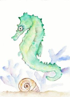 Seahorse Mint Green Sea Foam Watercolor Print - 8 X 10