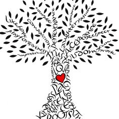 Handlettered Love Tree with Red Heart. $12.00, via Etsy. Wonder if we could do this as a family tree. Students write names of family members in trunk, on branches etc.