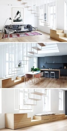 13 Treppe Design Ideen für kleine Räume / / dieser schwimmenden Treppen halten den Fluss der Wohnung und halten Sie es offen fühlen sich Licht durch die Öffnungen im Treppenhaus passieren zu lassen.