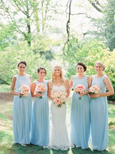 beautiful soft blue bridesmaids dresses {Ted Baker} with pink and peach bouquets | www.onefabday.com