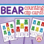 Bear counting clip cards - a great multi-sensory way to practice counting… Numbers Kindergarten, Numbers Preschool, Kindergarten Centers, Math Numbers, Math Centers, Learning Centers, Kindergarten Worksheets, Bears Preschool, Preschool Learning