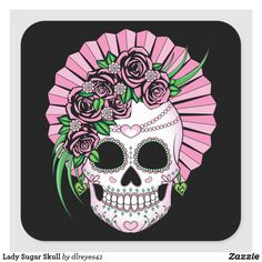 Lady sugar skull with roses in hues of pink is a beautiful Dia de los Muertos skull design the ladies will love. Size: inch (sheet of Gender: unisex. Sugar Skull Tattoos, Sugar Skulls, Sugar Skull Artwork, Sugar Skull Decor, Los Muertos Tattoo, Skull Reference, Skull Anatomy, Skull Illustration, Skull Wallpaper