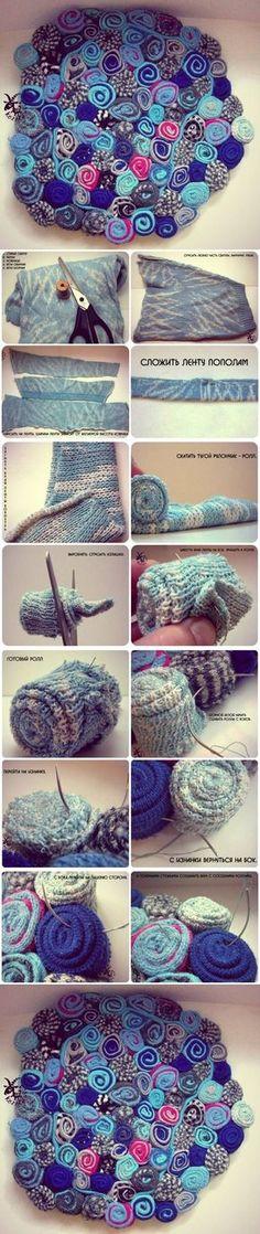 DIY Old Sweater Rug DIY Projects | UsefulDIY.com Follow Us on Facebook ==> http://www.facebook.com/UsefulDiy