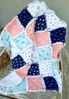Ready to Ship  Here is an adorable rag quilt for a little girl. Its made with Riley Blakes Country Girls Collection. The colors are pink, aqua, navy
