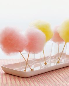 mini cotton candy fluffs on sticks of rock candy - love!  Truffula trees!!