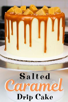 This salted caramel cake recipe makes the perfect caramel drip cake! It has vanilla cake layers, salted caramel frosting and is decorated with caramel drips. This homemade recipe is made from scratch, and is totally worth it. Caramel Drip Cake, Salted Caramel Frosting, Caramel Buttercream, Buttercream Cake, Desserts Caramel, Salted Caramel Chocolate Cake, Easy Desserts, Drip Cakes, Poke Cakes