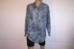 DIANE GILMAN Shirt Blouse Sz M 100% Silk Button Front Long Sleeves Abstract #DianeGilman #ButtonDownShirt #Career