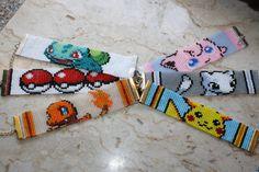 Pokemon loom beaded bracelet Geek Nerdy sprite pixel cartoon- made to order- choose 1 bulbasaur, pikachu, pokeball, charmander, mew, jigglypuff