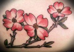 dogwood tattoo by Kelley Drake at Jack Brown's Tattoo Revival in Fredricksburg, VA Dogwood Flower Tattoos, Dogwood Flowers, Pin Up Tattoos, Pretty Tattoos, Tatoos, Back Tattoo, I Tattoo, Quilt Tattoo, Browning Tattoo