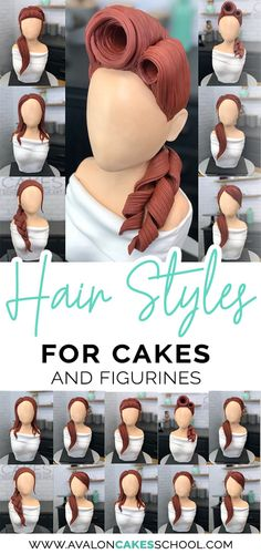 Fondant hair for your cakes! love the texture on this hair great for sugar figurines too! and that rockabilly hairstyle love! avaloncakesschool com caketutorials fondant fondanthair weibliche frisur skizzen Fondant Cupcakes, Cupcakes Cool, Bolo Fondant, Fondant Cake Tutorial, Fondant Toppers, Cupcake Cakes, Cupcake Toppers, Car Cakes, Fondant People Tutorial