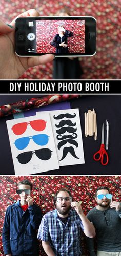 DIY Holiday Photo Booth (click through for printable props!)