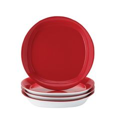 """Rachael Ray Dinnerware Round and Square Collection 4-Piece Salad/Dessert Plate Set, Red by Meyer. $22.41. Quality assurance guarantee. Four 8.5"""" salad plates. These quality stoneware salad plates in vibrantly colored orange are perfect for stylish entertaining and more casual meals. These salad plates are microwave and dishwasher safe for convenience and bring color, style and personality to the kitchen. Uniquely shaped, the Round and Square line combines circular traditional de..."""