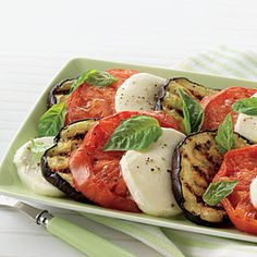 This easy salad embellishes the famous caprese salad of tomatoes, basil, and mozzarella cheese with the addition of grilled eggplant.