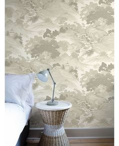 The Crown Archives Oriental Landscape Wallpaper in beige, taupe and cream is a modern take on a classic wallpaper with subtle metallic highlights. Free UK delivery available Tree Themed Wallpaper, Toile Wallpaper, Classic Wallpaper, Unique Trees, Landscape Wallpaper, Chinoiserie, Oriental, Taupe, Beige