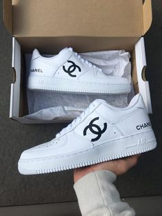 Browse and buy custom sneakers from Nike, Adidas, Vans, and more created by independent artists. White Sneakers Nike, Moda Sneakers, Custom Sneakers, Shoes Sneakers, Nike Custom Shoes, Custom Painted Shoes, Chanel Sneakers, Sneakers Style, Custom Converse