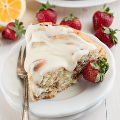 Strawberry Cinnamon Roll Cake. A Giant Cinnamon Roll Cake is the perfect breakfast or brunch! Find this and other yummy recipes at Yum Goggle!
