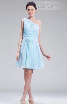 Simple Style A-line Knee-length One-shoulder Ruffles Bridesmaid Dress : Tbdress.com