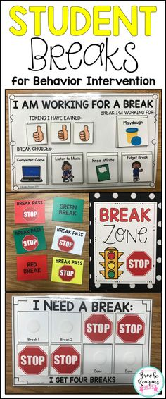 Behavior Intervention- Student Breaks Student breaks throughout the school day provides behavior intevention to students that struggle with behavior expectations. Behavior Goals, Classroom Behavior Management, Student Behavior, Behavior Charts, Positive Behavior, Class Management, Social Emotional Learning, Social Skills, Social Work