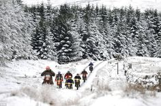 Easy does it: Cross country motorcyclists ride carefully in a line as they make their way up a track in Nenthead, Cumbria Weather Snow, Cumbria, Lake District, Winter Scenes, Countryside, Britain, United Kingdom, Cross Country, England