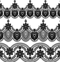 Lace black border vector