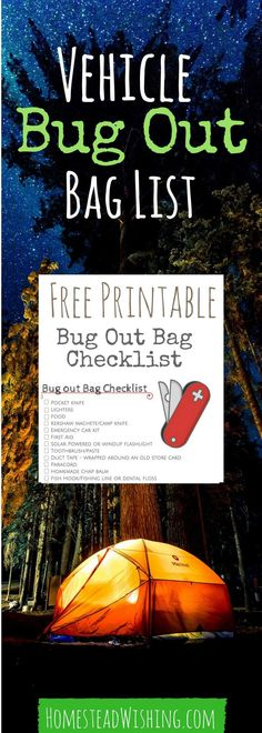 Vehicle bug out bag list. Free printable bug out bag checklist! This is a great list to help you be prepared in case of an emergency. Bug-out-bag-checklist, free-printable, survival-checklist | Homestead Wishing, Author Kristi Wheeler