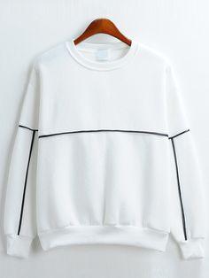 Round Neck Loose White Sweatshirt www.romwe.com