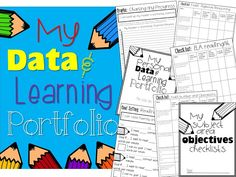 Student created data binder.  First grade objectives in math ela and writing written for a first grader!!!