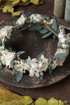 ユーカリとあじさいのドライフラワー花冠 corolla#garland#wreath