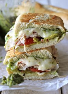 Leftover Thanksgiving Turkey Pesto Panini - This loaded panini is one of the perfect ways to use up your leftover Thanksgiving turkey! You control the cheese and pesto to make it lower calorie and lower fat. Gourmet Sandwiches, Gourmet Burger, Turkey Sandwiches, Turkey Panini, Chicken Panini, Panini Sandwiches, Delicious Sandwiches, Turkey Pesto Panini Recipe, Vegetarian Sandwiches